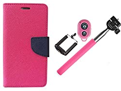 Novo Style Wallet Case Cover For  Motorola Moto E Pink + Selfie Stick with Adjustable Phone Holder and Bluetooth Wireless Remote Shutter