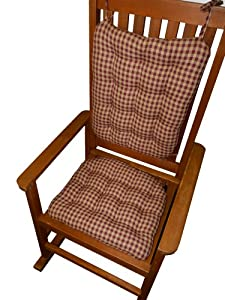 Rocking Chair Pad Set Checkers Red Tan 1 4