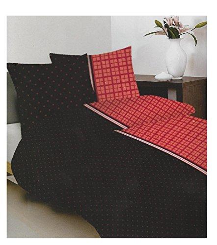 MAXI-MINI & Set-Black/Rosso, 160x 200copripiumino 2federa 70x 80cm 100% cotone (PR3053)