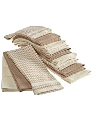 Bardwil Popcorn, Pack of 12 Kitchen Towels, Taupe by Bardwil