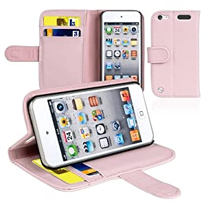 CommonByte Pink Card Holder Stand Wallet Leather Case Cover For iPod Touch 5 5th Generation