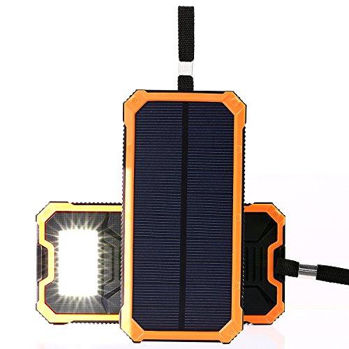 NexGadget ソーラーチャージャー 15000mAh 超大容量モバイルバッテリー 旅行/ハイキング/災害時に活躍 オレンジ