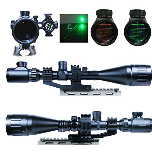 Ledsniper® 2 In1 6-24x50 Hunting Rifle Scope Mil-dot Illuminated Snipe Scope & Green Laser Sight