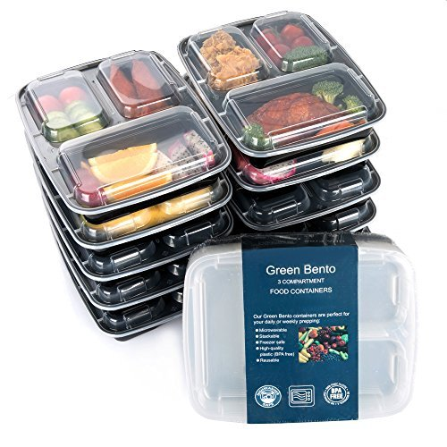 [10 Pack]3 Compartment Meal Prep Food Storage Containers with Lids/BPA Free Bento Lunch Boxes/Divided Portion Control Container Plates-Microwave, Dishwasher Safe, Free Cutlery (Divided Containers For Lunch compare prices)