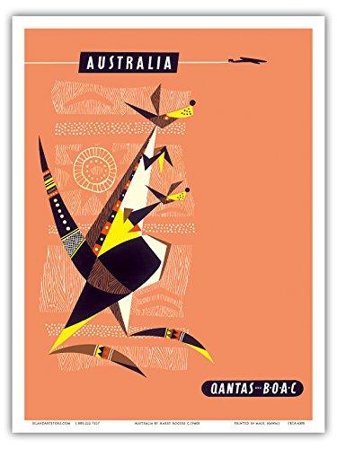australien-kanguru-und-baby-joey-australische-aboriginee-kunst-qantas-empire-airways-qea-vintage-ret