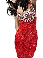 Qiyun Night Club Clubwear Bling Sequined Sundress Sheath Bodycon Evening Cocktail Party Dress