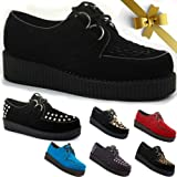 New Womens Platform Lace Up Brothel Style Low Wedge Ladies Flat Wedge Creepers Faux Suede Goth Punk Beetle Crusher Shoes Size 3 4 5 6 7 8
