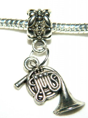 Make It With Beads Silver Music Instrument Horn Dangle Charm