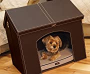 Pet Haven - Brown - Indoor Dog House / Indoor Cat House with Memory Foam Dog Bed and Attic Storage (28