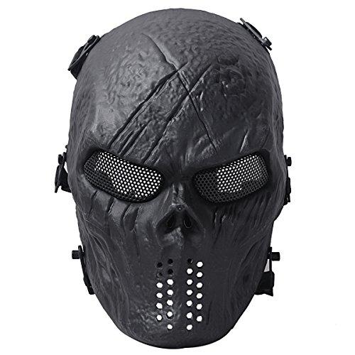 Coofit® cranio del fantasma di Airsoft Paintball completa maschera di protezione militare argento costume di Halloween