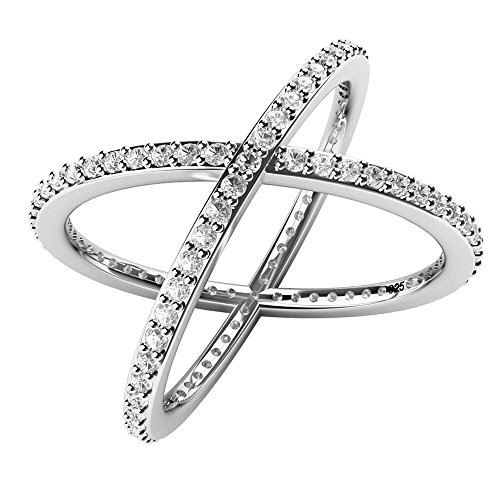 "Sterling Silver 925 Cubic Zirconia Cz Criss Cross ""X"" Long Ring Sz 11"