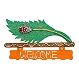 999Store welcome name plate door hanging handicraft gift item home décor hand painting peocock feather