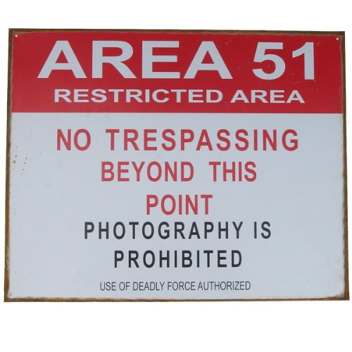 Area 51 No Trespassing Restricted Area Distressed Tin Metal Sign