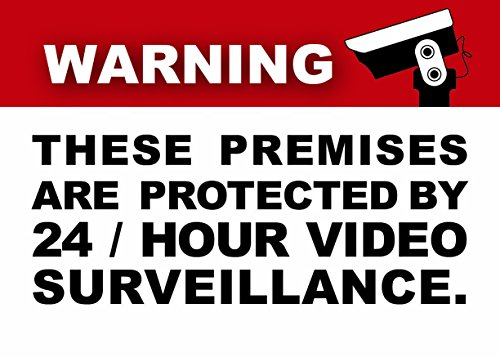 (6 Pack) 3.5 X 2.5 Self Adhesive Home Business Security DVR Camera Video Surveillance System Window Door Warning Alert Sticker Decals. For indoor / outdoor use