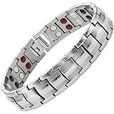 Willis Judd Mens New Four Element Titanium Magnetic Bracelet In Black Velvet Gift Box + Free Link Removal Tool