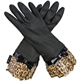 Black Fashion Gloves with Leopard Cuff and Bow by Gloveables