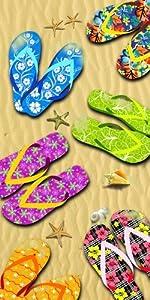 KAUFMAN - Beach Sandals Beach, Bath, Pool, Sauna Towel. 30in x 60in (105059)