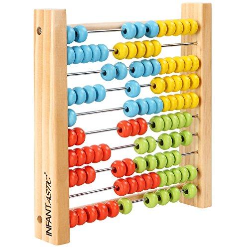 Infantastic - Boulier abaque en bois avec 100 boules multicolores - jouet éducatif pour enfants