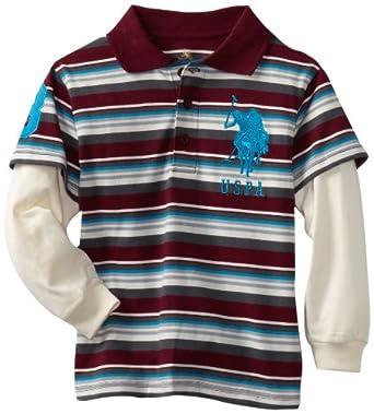(3折)U.S. POLO ASSN. Knit Slider Polo Top男孩樱桃色条纹假2件T恤$8.87