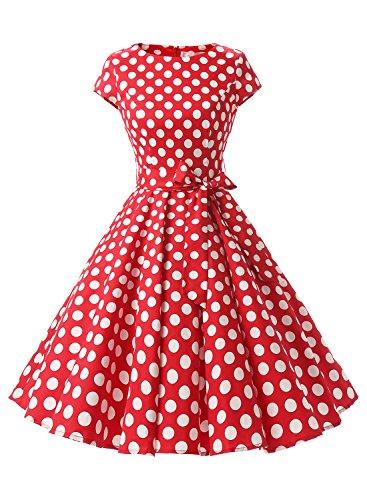 Dressystar Damen Vintage 51er Cap Sleeves Dot Einfarbig Rockabilly Swing Kleider Rot Weiß Dot B XXXL