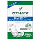 Vets Best 12 Count Comfort Fit Disposable Male Dog Wrap, Small