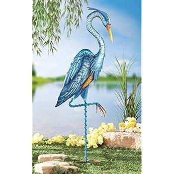 Blue Heron Crane Metal Garden Decor Yard Stake, Blue