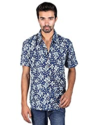Rajrang Mens Cotton Shirt -Indigo -Medium