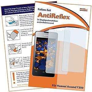 2x mumbi Displayschutzfolie Huawei Ascend Y300 Schutzfolie AntiReflex antireflektierend matt