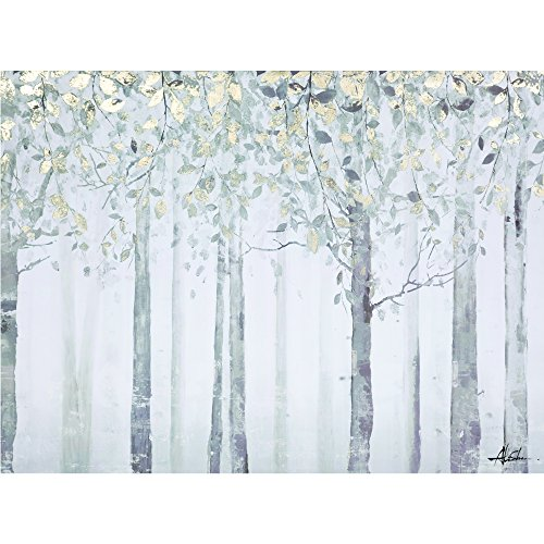 Yosemite Home Decor YJ9378A Grey and Yellow Trees Wall Art - 1