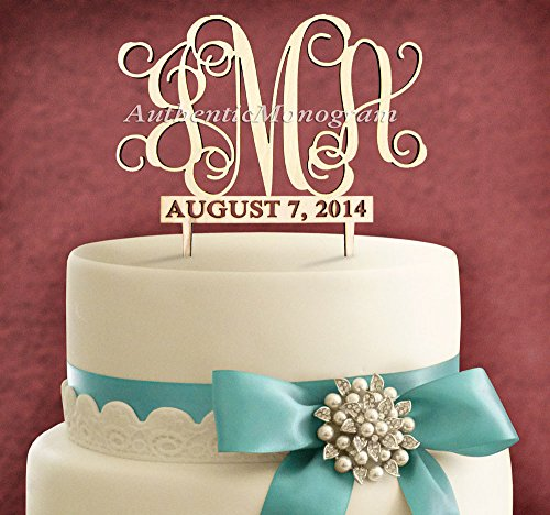 "6"" Wooden Painted Cake Topper With 2 Custom Monograms - 3 Letter Monogram & Date To Remember, Wedding, Initial, Celebration, Special front-903449"