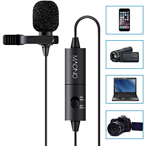 MAONO Lavalier Microphone,Lapel Mic with Omnidirectional Condenser for DSLRs,Camcorder, Video Camera, iPhone, iPad, Computer (Condenser Microphone Lavalier compare prices)