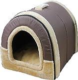 福美康(FUMEIKANG) ペット ハウス 犬小屋 猫 小屋 ペット用品 ふわふわ ドッグ キャット ハウス ドーム型 ベッド 折りたたみ式 (M, ブラウン)