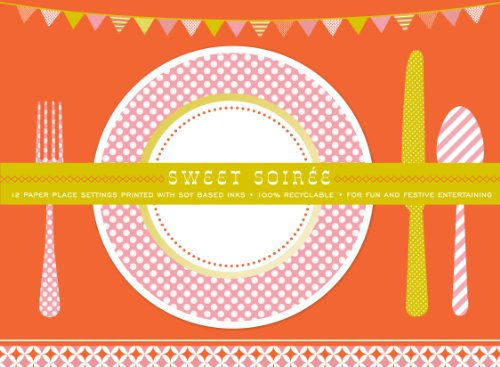 Party Partners Design Retro Sweet Soiree Themed Placemats, Pink/Orange, 12 Count
