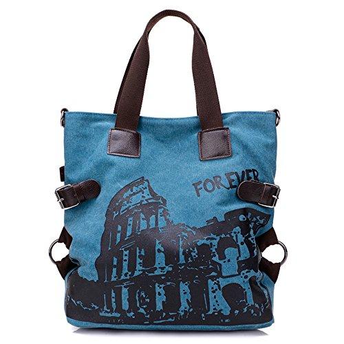 BYD - Donna Large Bag Borse a spalla Mutil Pocket Design Bag Crossbody Bag Borse Tote Borse a mano Canvas with Rome Arena Picture