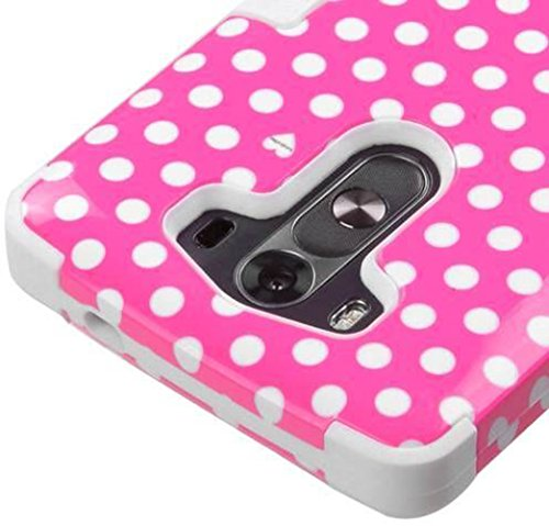 Mylife Rose Pink + Pearl White {Polka Dot Design} Dual Layered 3 Piece Case For The Lg G3 Smartphone (2 Piece Outer Rubberized Snap On Protector Shell + Internal Silicone Secure-Grip Bumper Gel) front-29980
