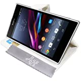 Etui Housse Luxe Blanc Stand & Portefeuille pour Sony XPERIA Z1 + STYLET et 3 FILMS OFFERTS !