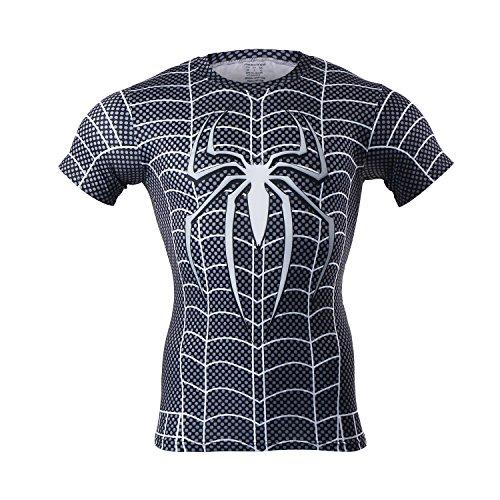 , M Baxter Herren Fitness T-shirt camicia funzionale esecuzione di compressione maniche corte traspirante maglia da running
