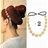 AKOAK 2pc Magic Sweet Lady Girls Hollow Rose Flower Elastic Hair Band Headband