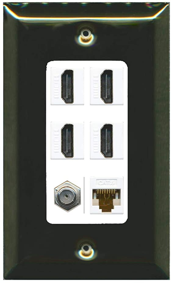 RiteAV - 4 Port HDMI 1 Coax Cable TV- F-Type 1 Cat6 Ethernet Wall Plate Decorative - Brass/White (Color: Brass/White)