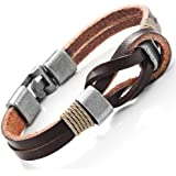 """Dark Brown Genuine Leather Nautical Knot Bracelet with Silver New Secure Clasps for Him and Her, Unisex, 8"""""""