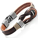 Dark Brown Genuine Leather Nautical Knot Bracelet with Silver Clasps for Him and Her, Unisex, 8""
