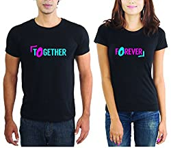LaCrafters Couple tshirt - Together Forever Couples Tshirt_Black_XL - Set of 2