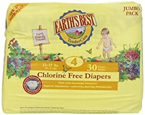 Earth's Best Organic Chlorine Free Size 4 Diapers, 120 Count
