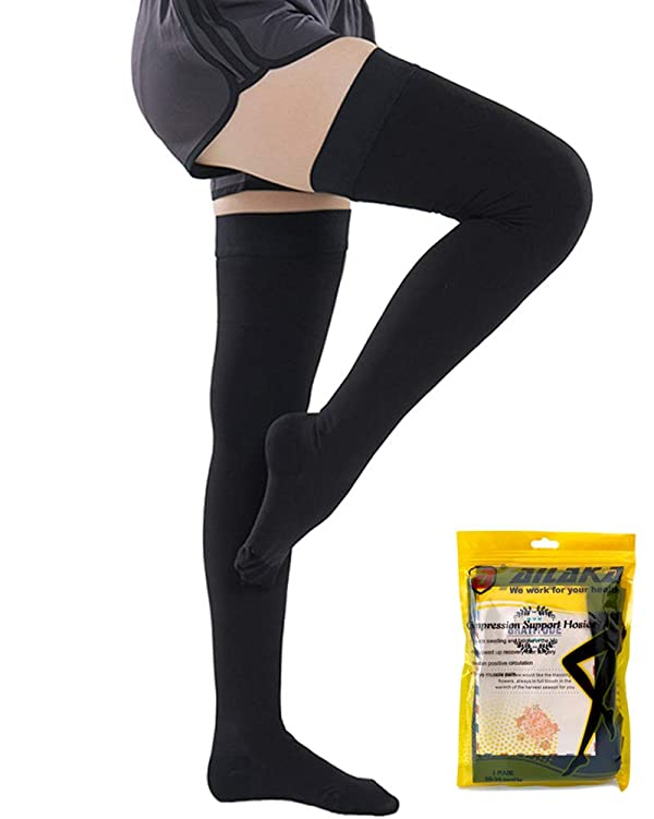 Ailaka Closed Toe Thigh High 20-30 mmHg Compression Stockings for Women & Men, Firm Support Graduated Varicose Veins Socks, Travel, Casual-Formal Hosiery (Color: Black (Close Toe), Tamaño: XX-Large)