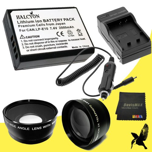 58Mm Wide Angle + 2X Telephoto Lenses For Canon Eos Rebel T3 With Canon 18-55Mm Lens + Halcyon Lp-E10 Battery And Charger For Canon Eos Rebel T3 Bundle