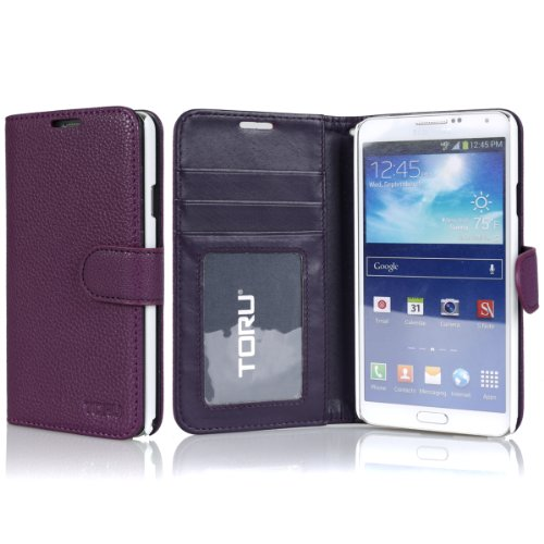 Galaxy Note 3 Wallet Case, Toru® [Purple] Samsung Galaxy Note 3 Case Wallet [Stand Feature] With Credit Card Slots / Id Window / Inner Pocket - Pu Leather Flip Cover Folio Wallet Case - Verizon, At&T, Sprint, T-Mobile, International, And Unlocked - Case F