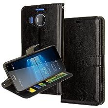 buy Lumia 950 Xl Case,Microsoft Nokia Lumia 950 Xl Wallet Leather Case Aomax® Wallet Card Slot View Stand Premium Protective Leather Cover Case For Microsoft Nokia Lumia 950 Xl (R64 Black)