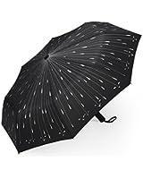 PLEMO Umbrella, Automatic Folding Travel Compact Umbrella, Raindrops Black