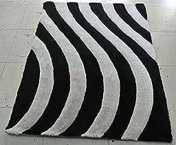 Shag Area Rug Design 3-D 803 (Black, 8 Feet X 10 Feet)