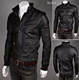 Hot sales mens leather jacket prime biker jacket motorcycle jacket all style and sizes (H555-Black, M)
